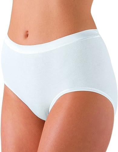 Nina von C. 5er Pack Damen Größenslips Fine Cotton - Weiß, Schwarz- Größe 38 bis 54 - Maxislips auch für Größe Grün - Damen Größenslip aus Bio Baumwolle - Damenslips