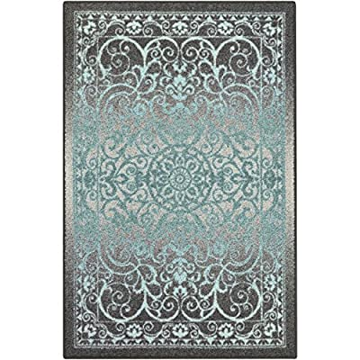 Maples Rugs Pelham Vintage Area Rugs for Living Room & Bedroom [Made in USA], 7 x 10, Grey/Blue