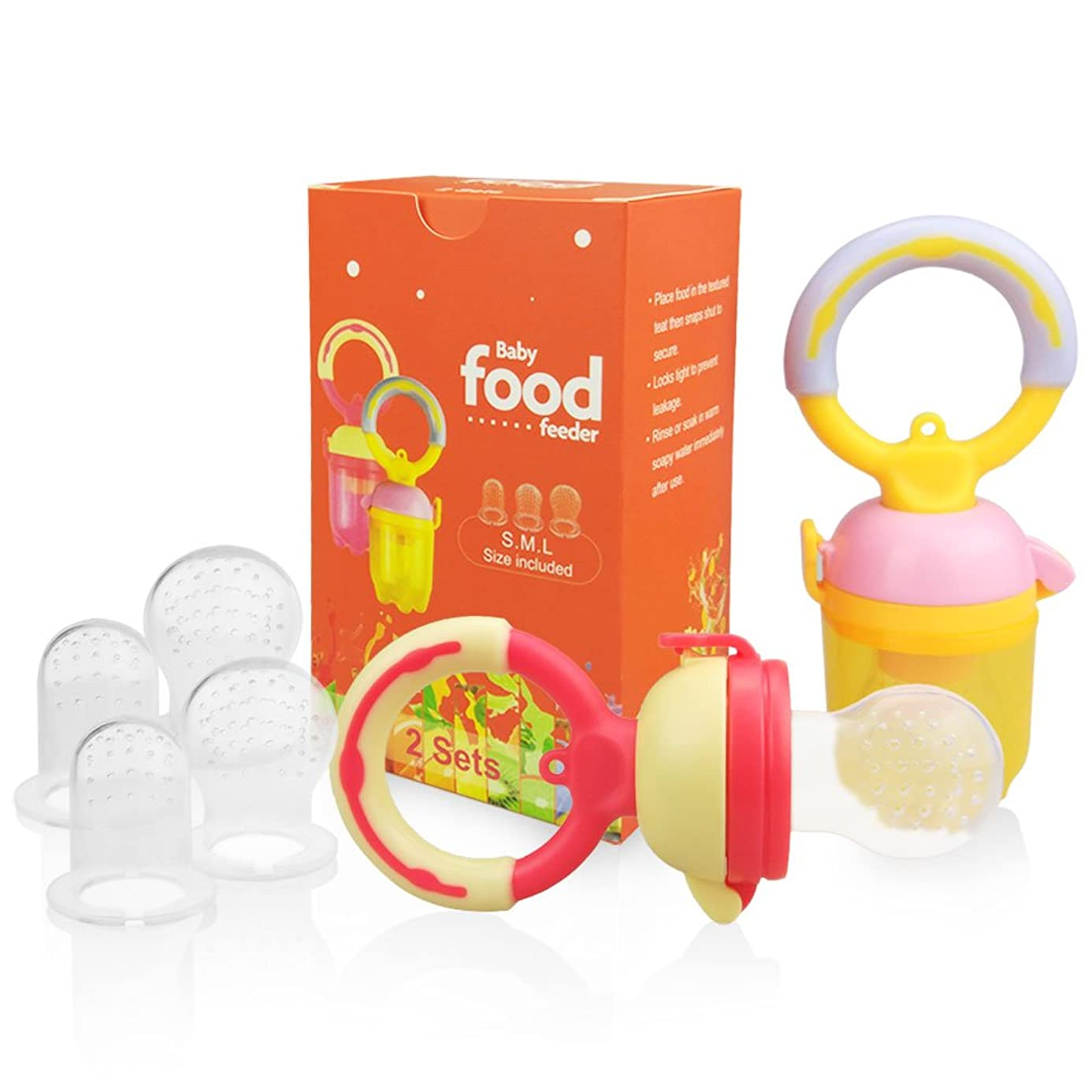 Baby Fresh Food Feeder Pacifier(2 Sets) - SILIVO Silicone Fruit Teething Feeder Teether Toy for Infants,Toddlers, and Kids - Includes All Sizes Silicone Nipples