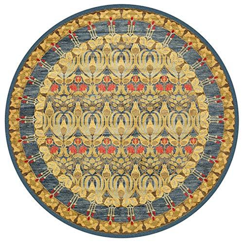 LMXJB Tapis Antiquities Rug Tapis Rond, Bordure Fleurs Botaniques, Collection Lyndhurst Surdoué, Tapis Oriental Traditionnel, Tapis Rond en PolypropylèNe à La Marocaine,Yellow,Diameter120Cm/47''