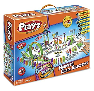 Playz Skylab Adventure Monster Chain Reactions Marble Run Science Kit STEM Toy with Race Tracks for Boys & Girls, Kids Roller Coaster Toy Experiments, Outer Space Theme Park Educational Gift from Playz