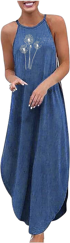 Womens Halter Floral Printed Sleeveless Beach Maxi Long Dress Dress Summer Casual Denim Sundresses