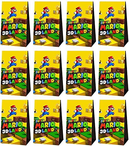 24 bolsas de papel para caramelos, Super Mario bolsas de fiesta, bolsas de caramelos pequeñas, ideales para fiestas de cumpleaños, fiestas de bebé, bodas, bolsas de papel, bolsas de decoración
