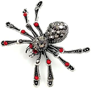 DREAMLANDSALES Victorian Style Mother of Pearl Body and Micro Pave Spider Brooches Pins Silver Tone