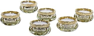 Koyal Wholesale Bloom Tea Light Holders, 6-Pack Petite Glass Tealight Cup, Vintage, Boho Wedding Tealight Cup Gold / Gold Rim