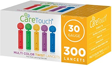 Care Touch Multi Colored Twist Top Lancets 30 Gauge, 300 Lancets