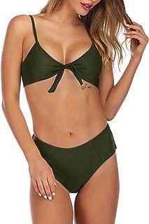 Women's Bathing Suit Top Tie Front Crop Top Bikini High Cut Bottom Swimsuit