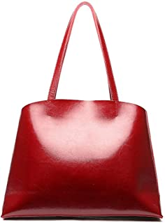 Fine Bag/Women's Shoulder Bag Retro PU Large Capacity Tote Casual Joker Tote Bag Shopping Bag Work Travel (Color : Red, Size : 40 * 12 * 29cm)