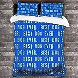 Best Dog Ever lavado juegos de cama de 3 piezas, decoración de dormitorio textil casero simple 86 x 70 pulgadas