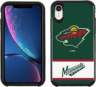 Apple iPhone XR - NHL Licensed Minnesota Wild Green Jersey Textured Back Cover on Black TPU Skin
