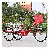 OHHG Triciclo Adultos 20 Pulgadas Bicicleta 3 Ruedas Canasta Grande Triciclo Crucero recreación Compras Picnics Ejercicio Hombres Mujeres Triciclo, Triciclo