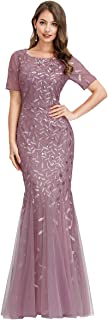 Ever-Pretty Women's Embroidery Round Neck Half Sleeves Buttock Floor Length Maxi Strapless Evening Dresses EZ07707
