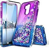 E-Began Case for T-Mobile Revvl 2 Plus, Alcatel 7 (6062W)/Alcatel 7 Folio with Tempered Glass Screen Protector, Sparkle Glitter Liquid Floating Quicksand, Durable Girls Cute Phone Case -Purple/Blue