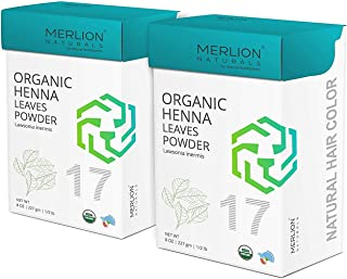 Organic Henna Leaves Powder by Merlion Naturals | Lawsonia inermis | 454gm/ 16OZ/ 1lb | USDA NOP Certified 100% Organic (2...