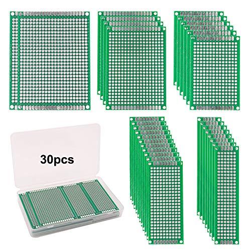 FULARR® 30Pcs Premium Doppelseitig Prototyp PCB Board Kit, 5 Größen Leiterplatte Platine Universal Board, Doppelseitig Lochrasterplatte Lochrasterplatine für Arduino DIY Löten【MEHRWEG】