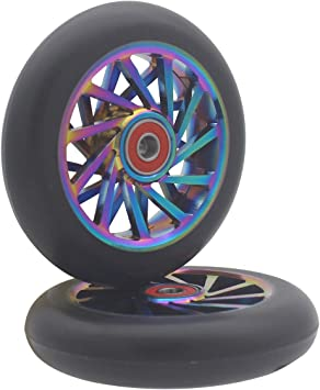 8 YOBAIH Scooter Wheels 2PCS 120mm Freestyle Stunt Scooter Wheels With High Elastic PU Aluminum Alloy Hub 22 7mm Bearings