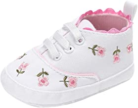 KONFA Toddler Newborn Baby Girls Embroidery Flower Boots,for 0-18 Months,Soft Sole Crib Premium Shoes