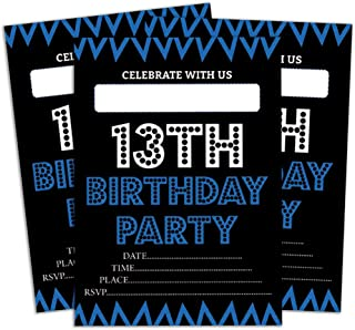Darling Souvenir Black Birthday Invitation Card 28 Pcs Fill or Write in Blank Invites Printable Party Supplies 5 x 7 Inches