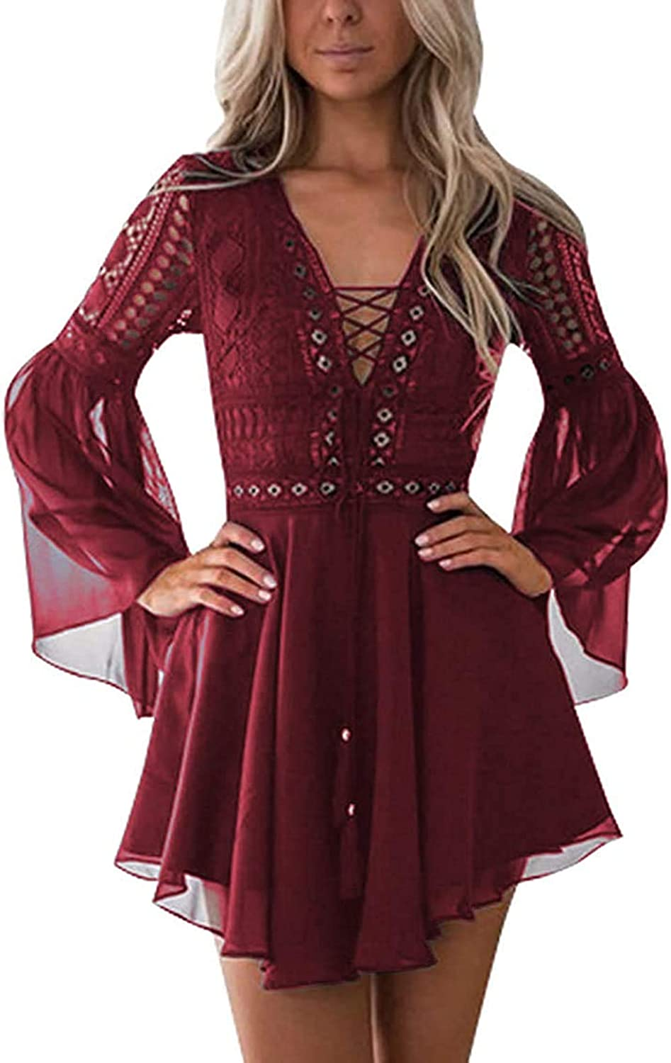 Lace Dresses for Max 78% OFF Women Boho Dress Cash special price Crochet Col Waisted Solid High