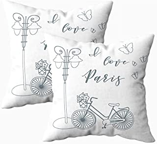 Ducan Lincoln Pillow Case 2PC 18X18,Fundas De Almohada,Funda Cuadrada Fundas De Almohada Cesta De Bicicleta Flores Linterna Mariposas La Inscripción Amor París Viajes Ocio I