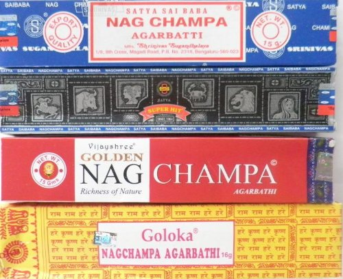 Räucherstäbchen NAG CHAMPA 4er-Set - Satya, Goloka, Superhit, Gold