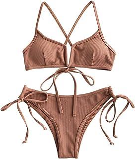 ZAFUL Women's Ribbed V-Wire Criss Cross Tie Back String Bikini Set Swimsuit
