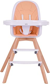 Wooden High Chair with Removable Tray and Adjustable Legs for Baby/Infants/Toddlers (Orange)