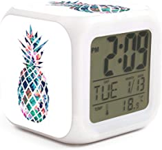 Summer Tropical Beach Pineapple Alarm Clock Displays Time Date and Temperature Soft Nightlight for Kids Home Office Bedroom Heavy Sleepers