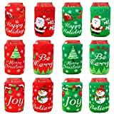 Tifeson Christmas Beer Can Coolers Sleeves - 12 Pack Xmas Holiday Can Insulated Covers for Christmas Party Decorations Supplies - Neoprene Coolers for 12-Ounce Canned Beverages, Bottle, Drink