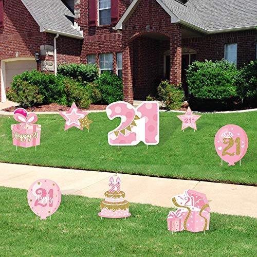 Huray Rayho 21st Birthday Yard Sign Cutouts with Stakes Finally 21 Yard Signs Lawn Outdoor Decorations Pink and Gold Happy Birthday Party Yard Signs (Set of 8)
