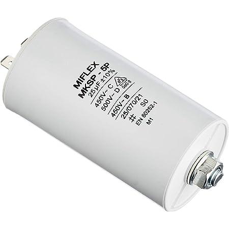 Miflex Condensateur de démarrage Condensateur Moteur 25µF 450V 45x83mm connecteurM8 25µF
