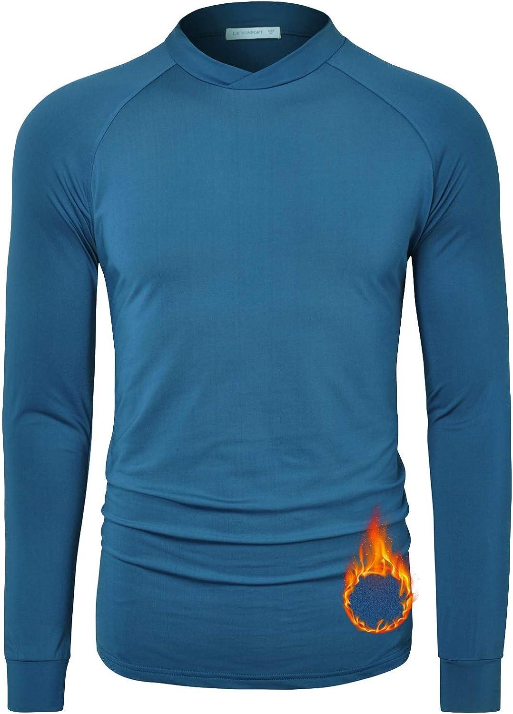 Le Vonfort Thermal Shirts for Men Long Sleeve Fleece Warm Insulation Pajamas Winter Autumn Basic Office Fashion Style Sweatshirts Sapphire Medium