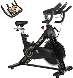 PYHIGH Indoor Cycling Bike-48lbs Flywheel Belt Drive Stationary Bicycle Exercise Bikes with LCD Monitor for Home Cardio Workout Bike Training- Black (Black)