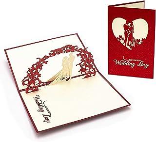 L04 Tarjeta de felicitaci/ón para bodas y reci/én casados de alta calidad desplecable con dise/ño 3D de pareja en altar de boda