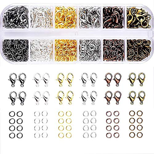 SEIWEI Lobster Clasps and Jump Rings Set, 6Color, 960 Pieces, for DIY Jewelry Making and Repair