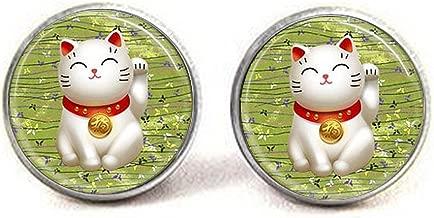 Lucky Cat Pendant,Green Maneki Neko Good Luck Earrings,Green Maneki Neko Good Luck Moon Jewelry