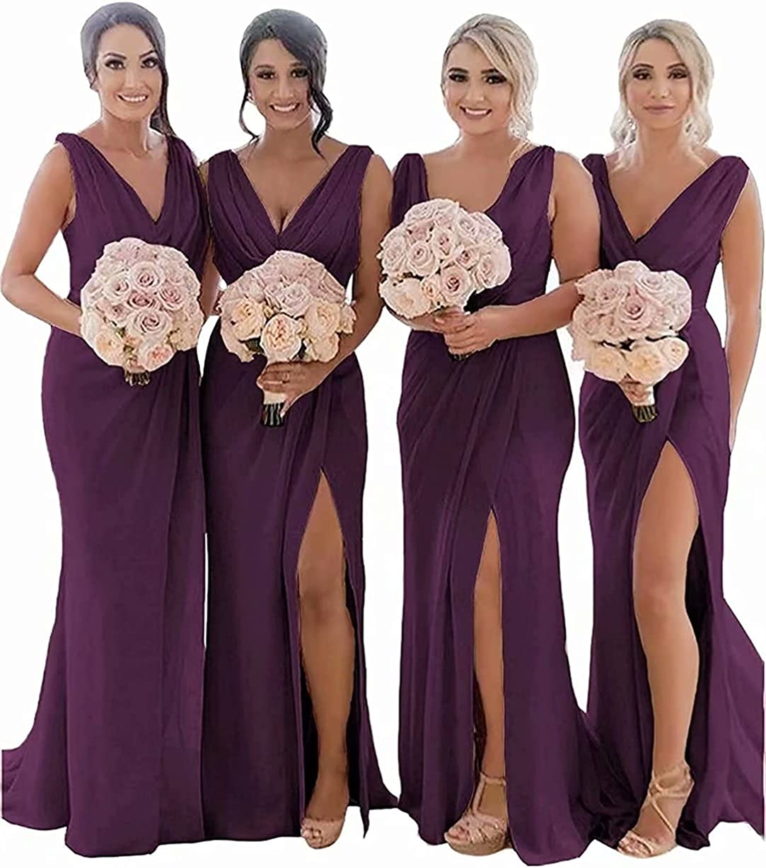 Women's V Neck Chiffon Bridesmaid Dresses Long High Split Wedding Party Evening Dress