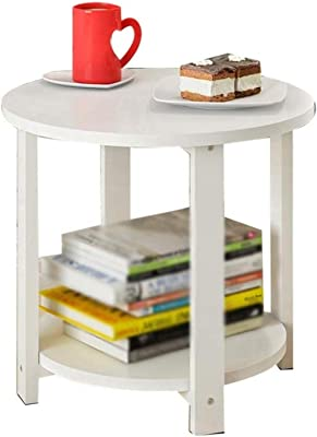 LF- Side Table-Q Desk Bedroom Magazine Rack, Metal Holder Creative Small Round Table Double Layer Storage Box? Lter Café Chic (Color : B, Size : 50cm)
