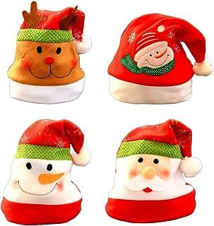 Healifty - 4 Sombreros de Navidad con Dibujos Animados, Sombrero de Papá Noel, Sombrero de Fiesta, Regalos, Decoraciones para niños y Adultos (patrón de clasificación)