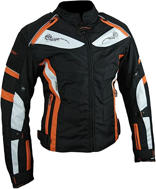 Heyberry Damen Motorrad Jacke Motorradjacke Textil Schwarz Orange Gr M 38 Auto
