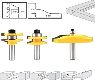 Nxtop 1/2'' Shank Ogee Rail & Stile Router Bit Cove Raised Panel Tools Sets Kit Woodworking Chisel Cutter Tool Set 3PCS