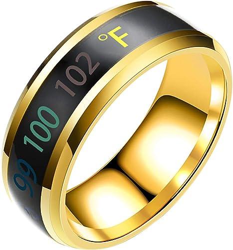 OPTIMISTIC Temperature Rings for Women Temperature Monitor Sensor Smart Ring for Men Intelligent Digital Body Copper Wedding Men & Women Rings Fashion Jewelry for Women Men, Size 10