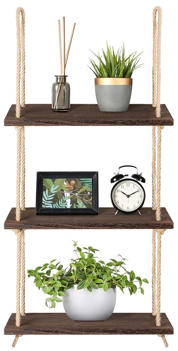 Mkono Wood Hanging Shelf Wall Swing Storage Shelves Jute Rope Organizer Rack, 3 Tier