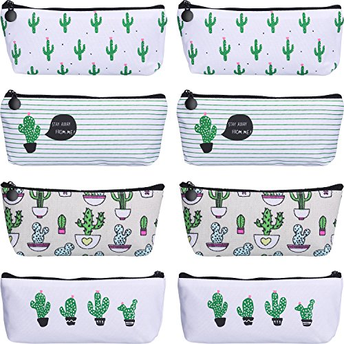 TecUnite 8 Pieces Pen Case Pencil Bag Canvas Pencil Pen Case Pen Holder Cosmetic Makeup Bag Set (Cactus Style)