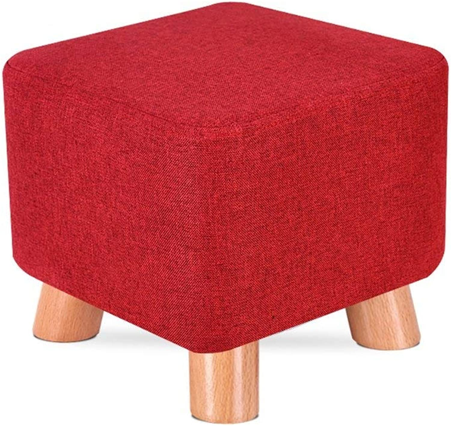GJD Sofa Stool Solid Wood shoes Bench shoes Bench Square Stool Cloth Art Stool Tea Table Bench Home Stool Strong and Sturdy Foldable Leather Sofa Stool (color   Red Dates)
