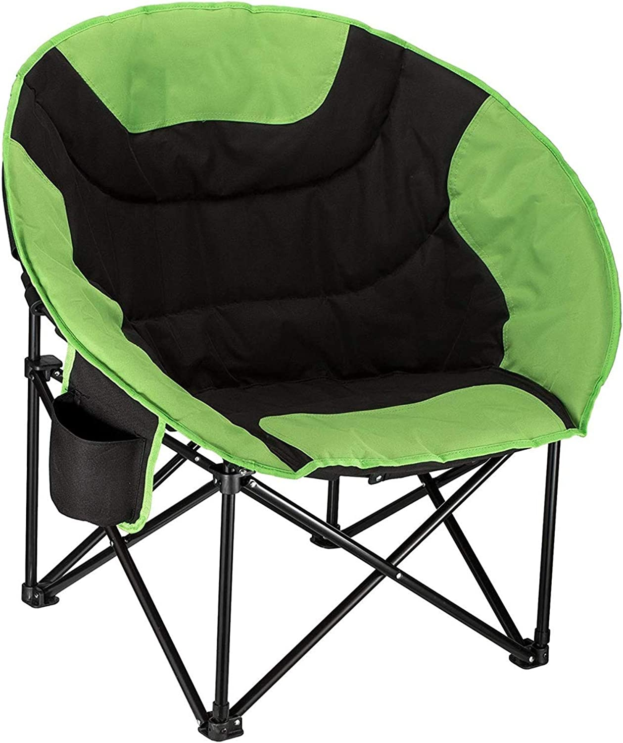 Camping Folding Round Chair,Portable Backrest Folding Chair Frame with Cup Holder and Back Pocket