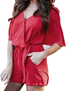 9973263ac02 Kingfansion Women Romper Half Sleeve Jumpsuit Playsuit Overall Shorts with  Pockets