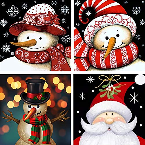 Trooer 4 Packs DIY 5D Diamond Painting Kits 12 x 12 Inch Full Drill Wall Hanging Diamond Arts Craft Set for Christmas Snowman Home Wall(red)