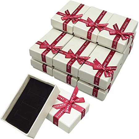 ギフトボックス ラッピング アクセサリー箱 梱包 リボン クッション付属 (5.5×8.5×2.7cm ホワイト 15個)