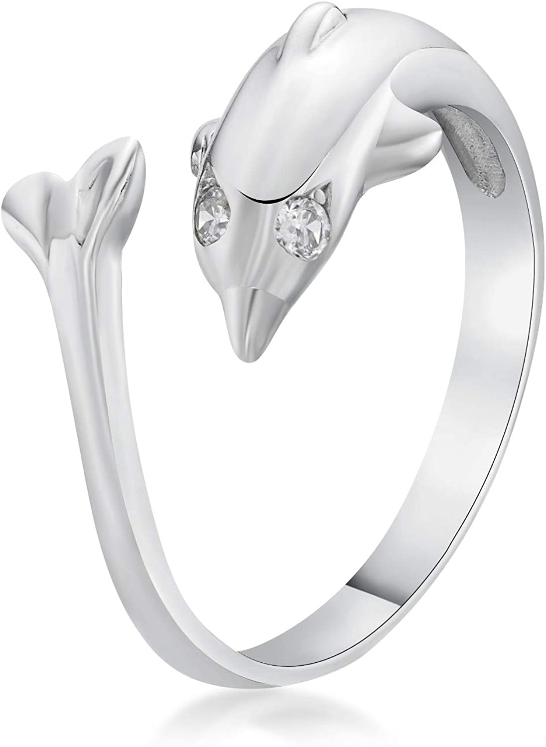 Cubic Zirconia Adjustable Dolphin Toe Ring in 10k Yellow or White Gold 2 mm Wide by Lavari Jewelers